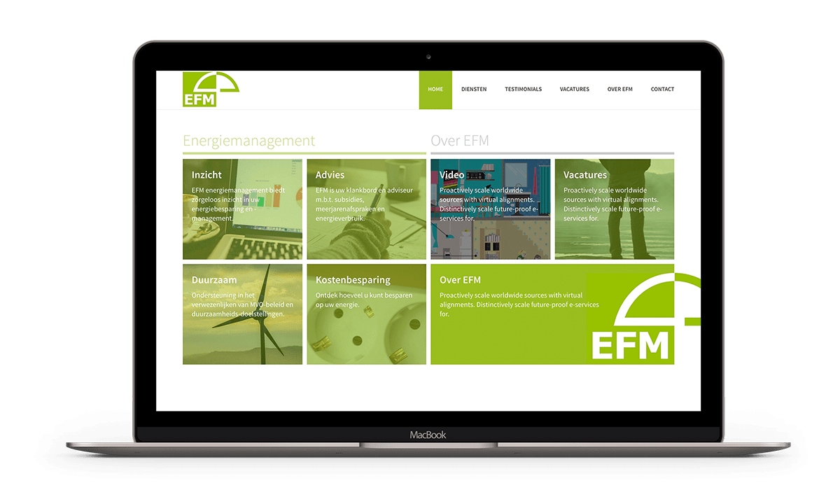EFM heeft een WordPress website laten maken met Brendly webdesign in Amsterdam